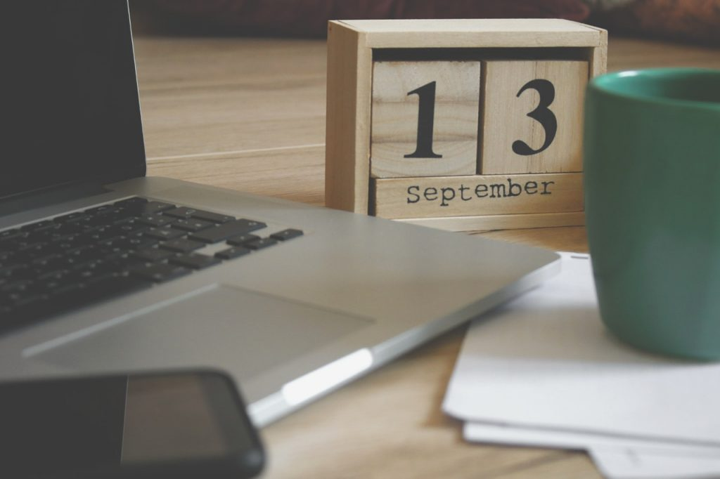 Calendar cube on desk